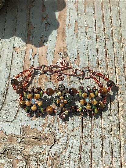Vintage Floral & Tiger Eye Copper Bracelet