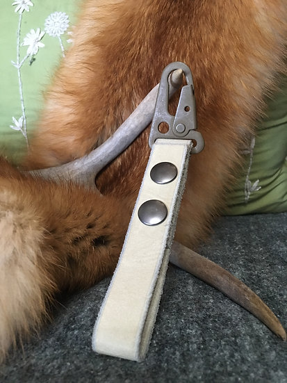 Off White Leather Belt Loop Keychain