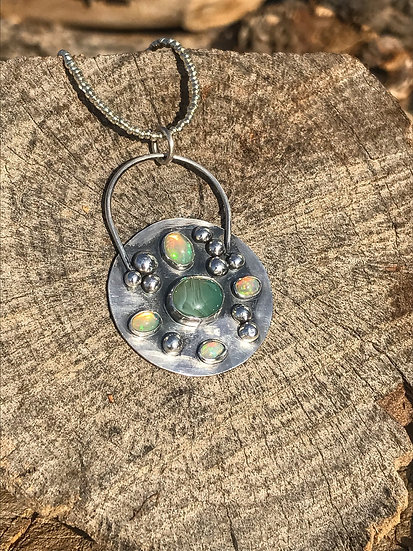 Opals & Agate Pendant Necklace