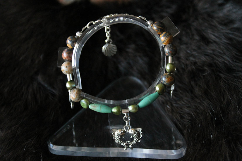 """Sea"" Fully Beaded Charm Bracelet"