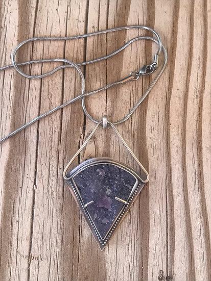 Druzy Lepidolite Sterling Silver Pendant