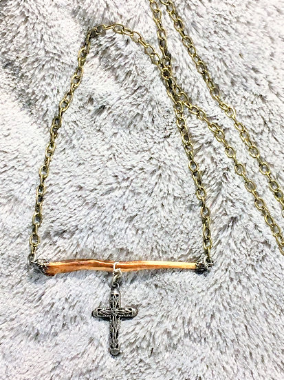 Coyote Baculum Cross Necklace