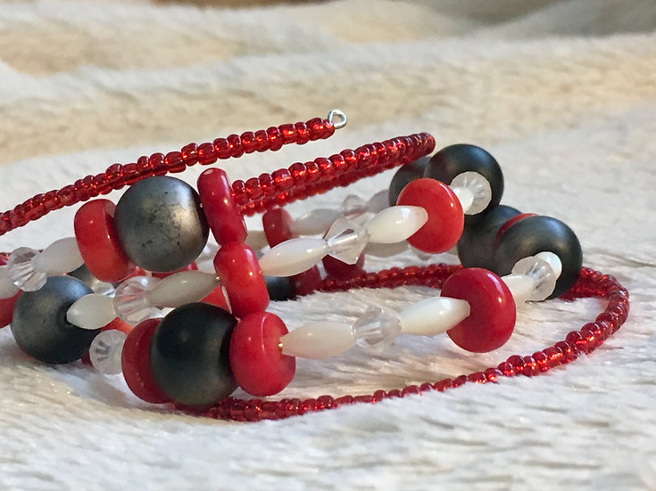 Vintage Glass and Crystal Memory Wire Bracelet