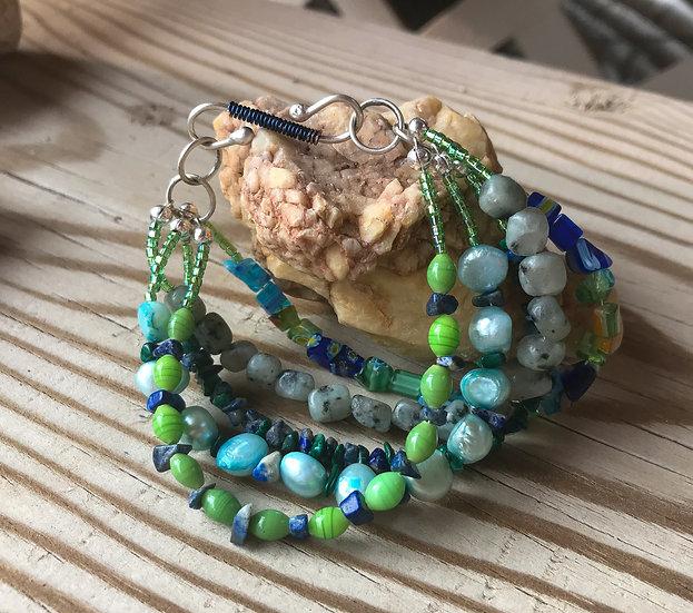 Beaded 5 Strand Sterling Bracelet