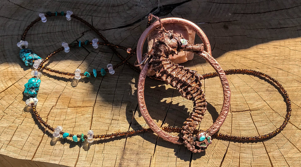 Copper & Turquoise Seahorse