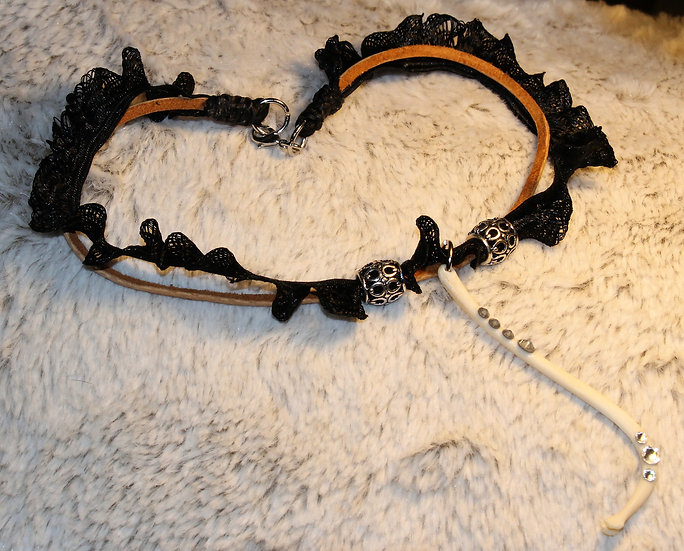 Leather & Lace Racoon Choker
