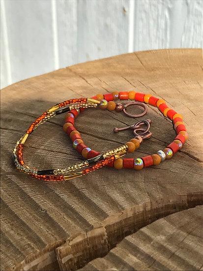 Orange Czech Bead Stack Bracelet Set