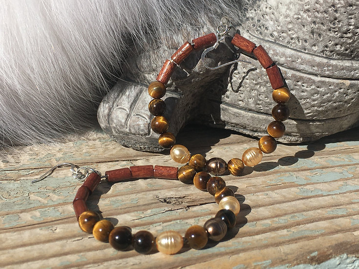 Tiger Eye & Glass Pearl & Wooden Tubes