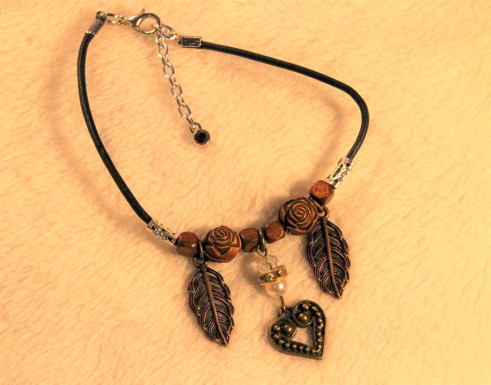 Black Leather Heart Anklet