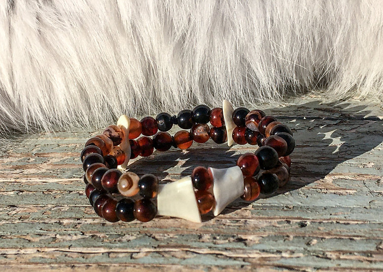 Elk Ivory and Agate Bracelet