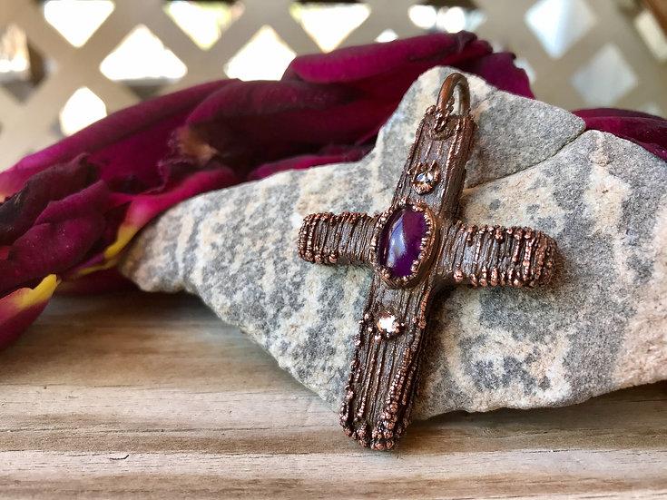 Copper Crystals Cross Pendant