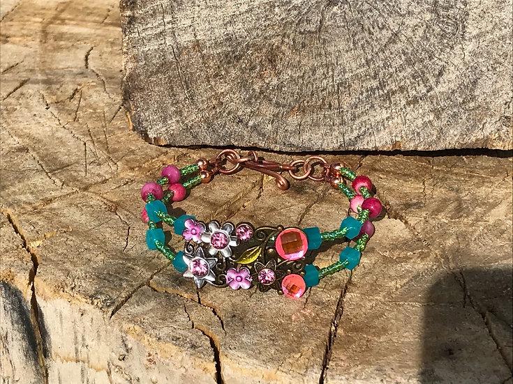 Floral & Quartz Bead Bracelet