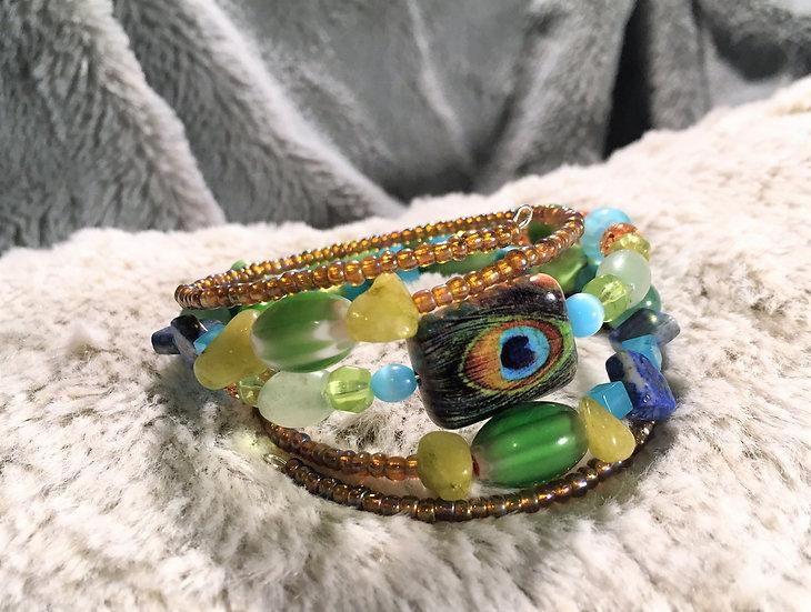 Peacock Memory Wire Bracelet