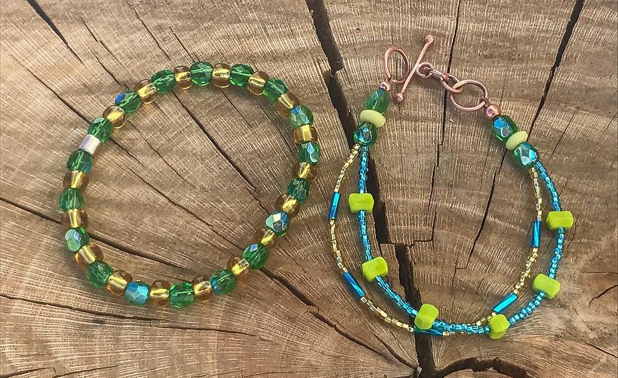 Czech Bead Stack Bracelet Set