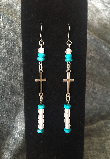 Turquoise & Vintage Glass Cross Earrings
