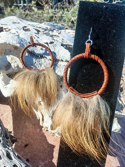 Red Fox Fur Hoop Earrings
