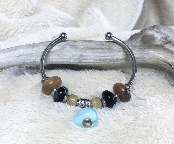 Stainless Steel Horn & Agate Bangle Bracelet