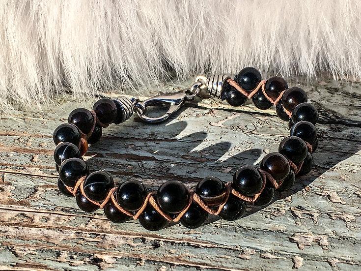 "Black Agate ""Shamballa"" Bracelet"