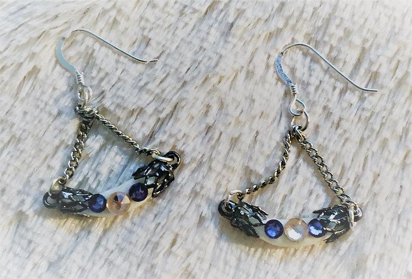 Coral Purple Crystals Fox Earrings