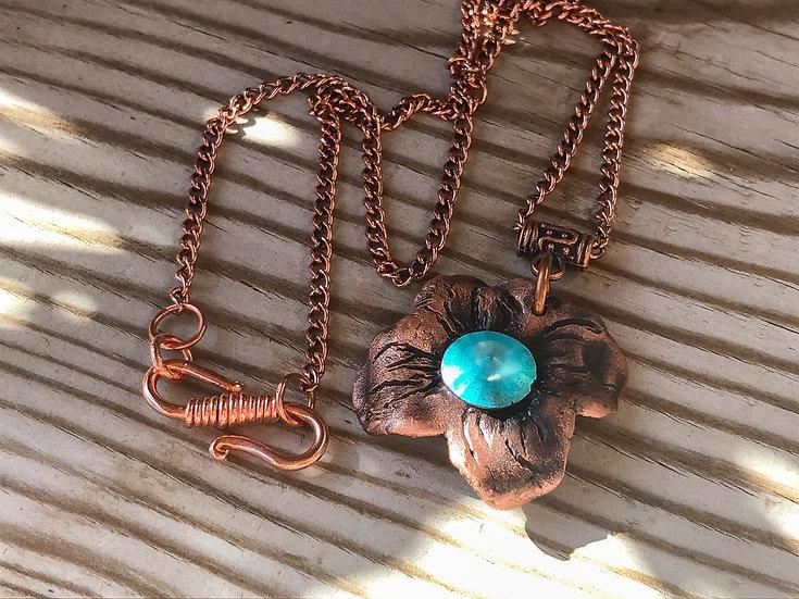 Copper Flower Pendant Necklace