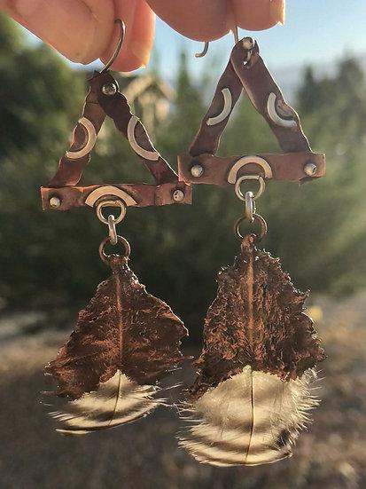 Bantam Feather Mixed Metal Earrings