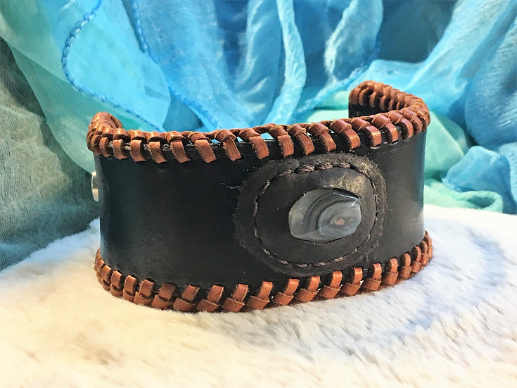 Leather Cuff with Agate