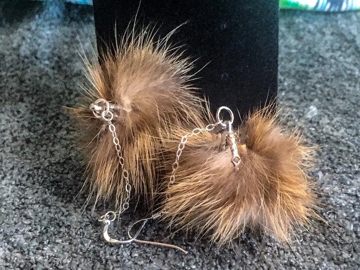 Red Fox Fur Earrings