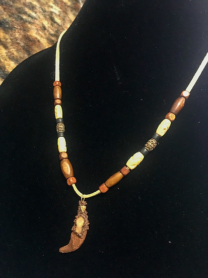 Vintage Wood Coyote Caine Necklace