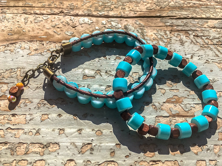 Turquoise Glass Bracelet Set