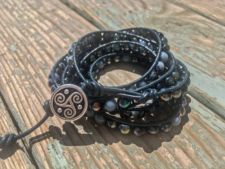 Leather & Glass Wrap Bracelet