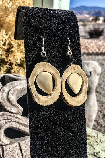 Elk Antler and Ivory Earrings