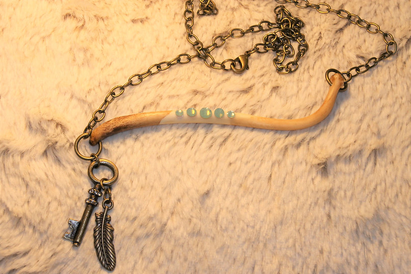 Feather & Key Charmed Racoon Necklace