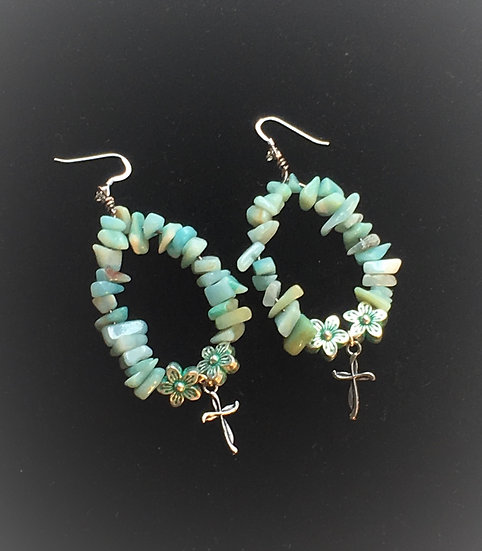 Amazonite Cross Earrings