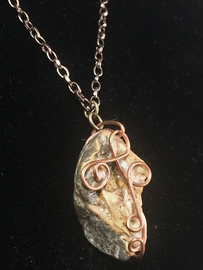 Copper Stone Wire Wrapped Necklace