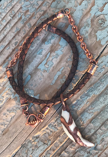 Copper Wolf Canine Necklace
