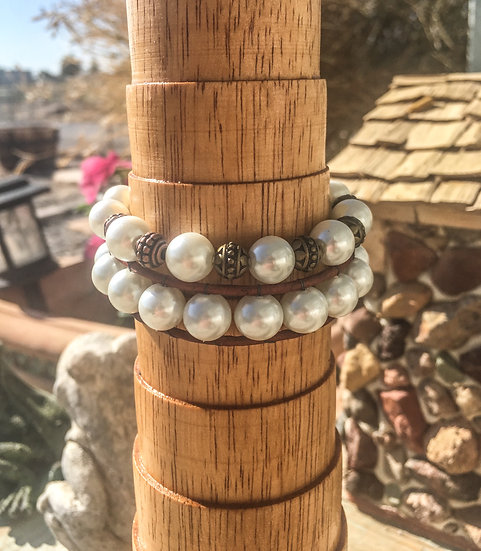 "Glass ""Pearl"" Bracelet Set"