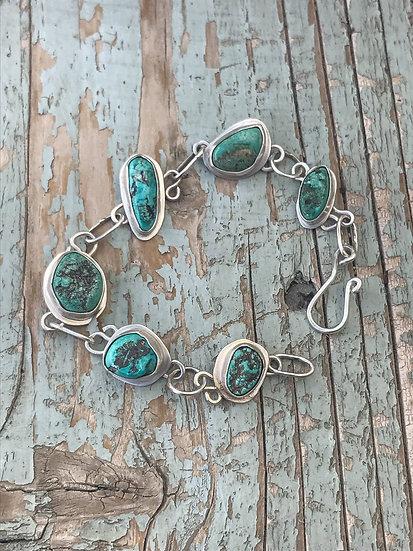 Turquoise Nugget Sterling Silver Link Bracelet