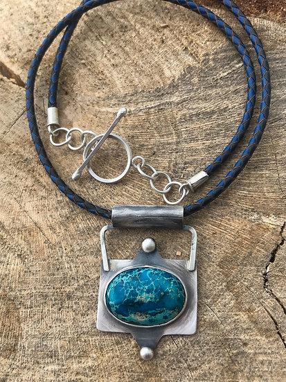 Sea Sediment Jasper Leather Necklace