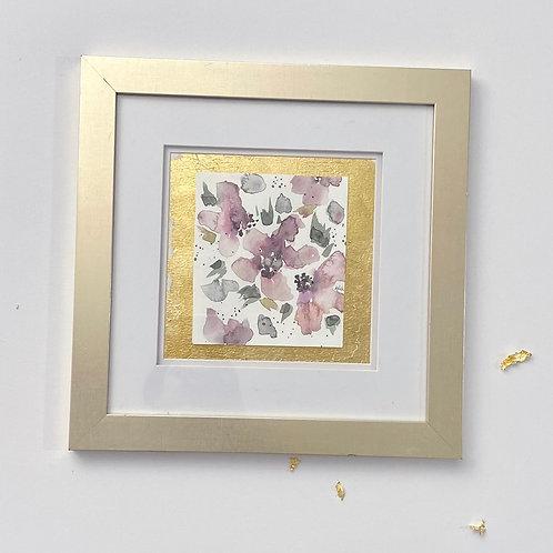 Framed in Gold Pink Floral