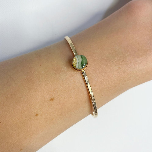 Green Wave 14K Gold Original Art Bracelet