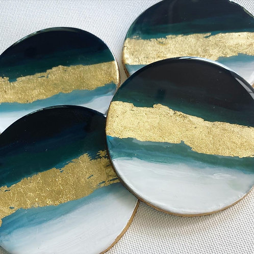 Navy Ombre Wave and Gold Leaf Coaster Set