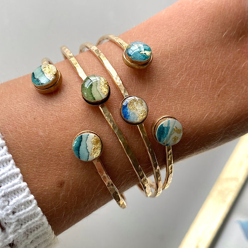 TWO Art Bezel 14k gold hammered bracelet