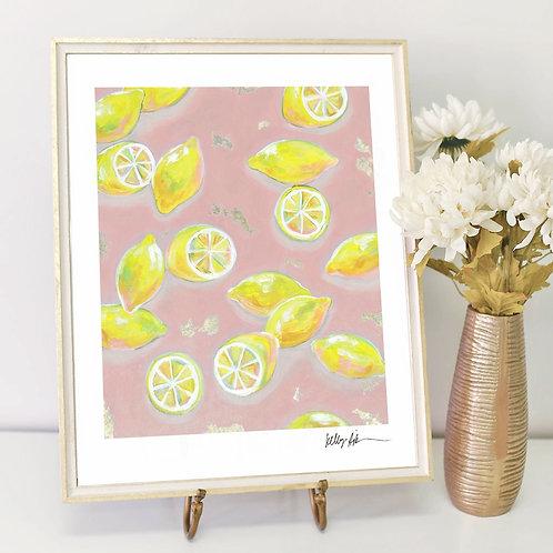 Lemons in Pink- PRINT