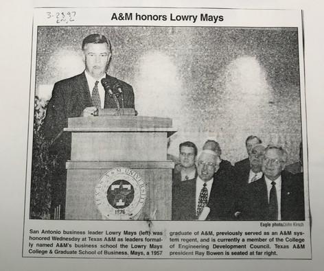 Renaming of Mays Business School 1996