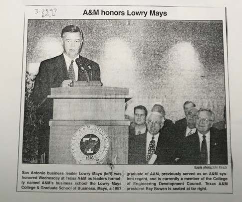 Renaming of Mays Business School 1996