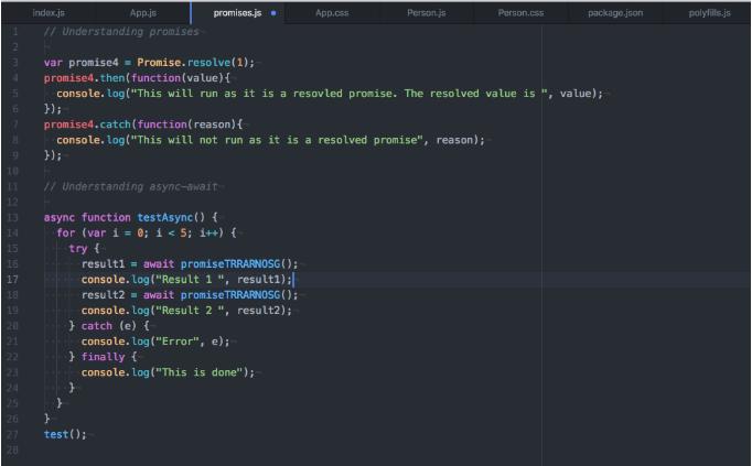 Đoạn mã ví dụ về promises và async- await