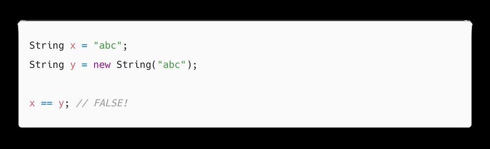 sử dụng == thay vì lệnh equals()