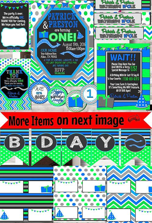 Blue Green Birthday Party Decor