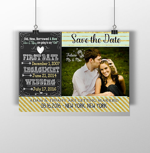 Gold & Teal Save the Date Invite