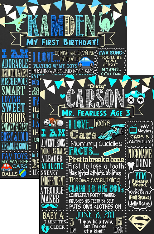 Boys Blue Teal Birthday